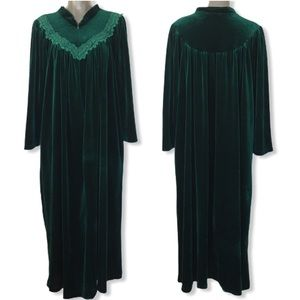 Vintage Komar Emerald Green Velvet Nightgown L/XL